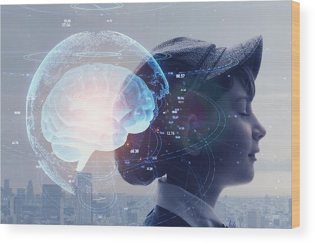 Internet Wood Print featuring the photograph AI (Artificial Intelligence) concept. Education concept. by Metamorworks