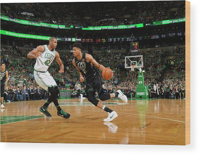 Playoffs Wood Print featuring the photograph Al Horford and Giannis Antetokounmpo by Brian Babineau