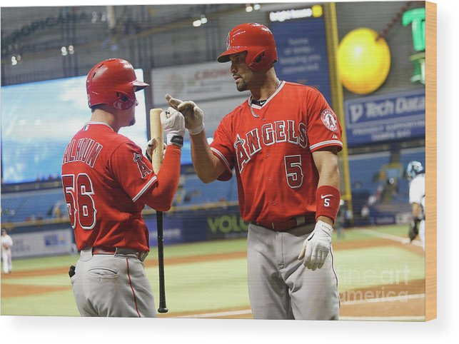 Ninth Inning Wood Print featuring the photograph Albert Pujols and Kole Calhoun by Brian Blanco