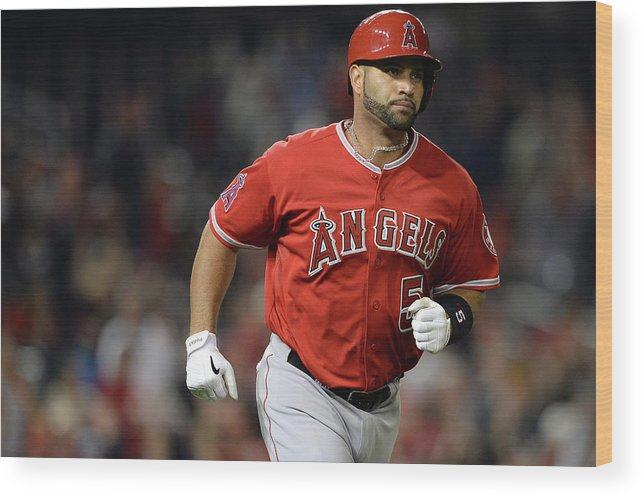 American League Baseball Wood Print featuring the photograph Albert Pujols by Patrick Smith
