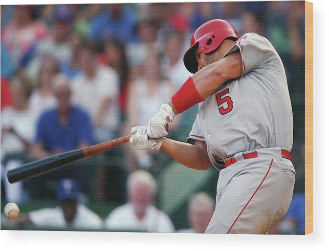 Three Quarter Length Wood Print featuring the photograph Albert Pujols by Tom Pennington