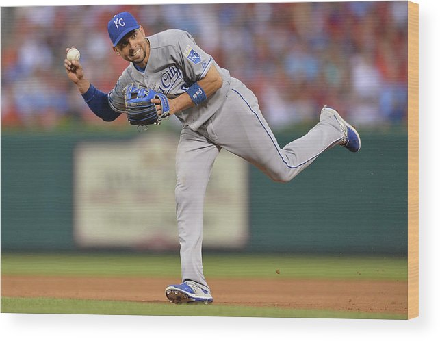 People Wood Print featuring the photograph Alcides Escobar by Michael Thomas