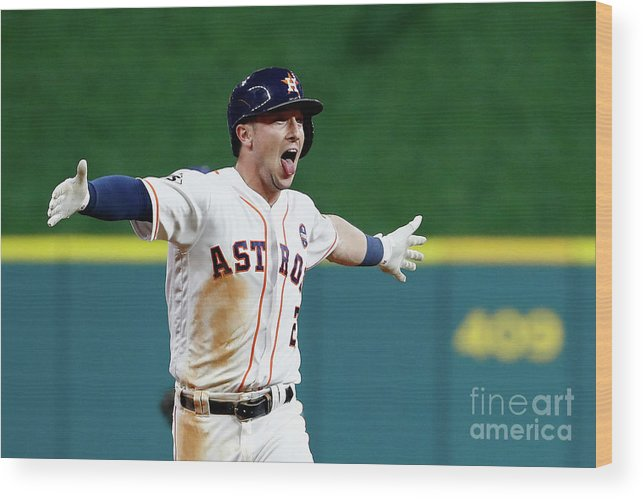 Alex Bregman Wood Print featuring the photograph Alex Bregman by Jamie Squire