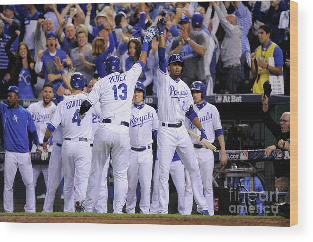 Salvador Perez Diaz Wood Print featuring the photograph Alex Gordon and Alcides Escobar by Ed Zurga