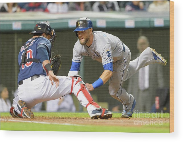 Baseball Catcher Wood Print featuring the photograph Alex Gordon and Yan Gomes by Jason Miller