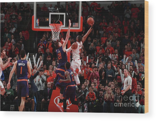 Nba Pro Basketball Wood Print featuring the photograph Alex Len and Dwyane Wade by Jeff Haynes