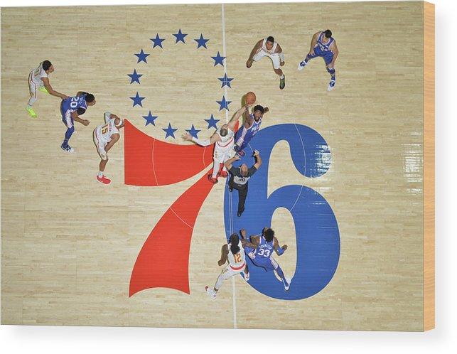 Nba Pro Basketball Wood Print featuring the photograph Alex Len and Joel Embiid by Jesse D. Garrabrant