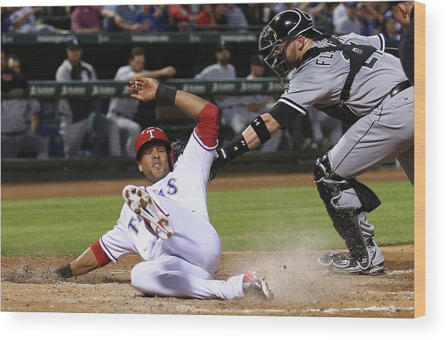 American League Baseball Wood Print featuring the photograph Alex Rios and Tyler Flowers by Tom Pennington