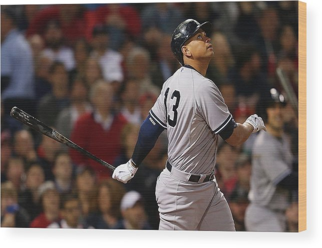 American League Baseball Wood Print featuring the photograph Alex Rodriguez by Jim Rogash