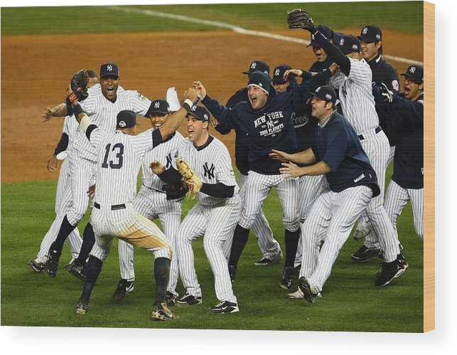 American League Baseball Wood Print featuring the photograph Alex Rodriguez, Mark Teixeira, and Mariano Rivera by Chris Mcgrath
