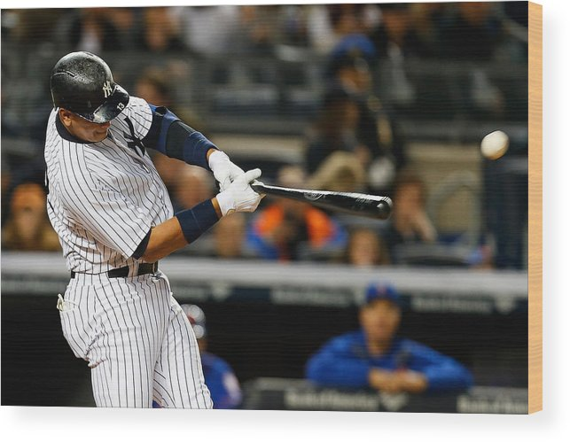 Three Quarter Length Wood Print featuring the photograph Alex Rodriguez by Mike Stobe