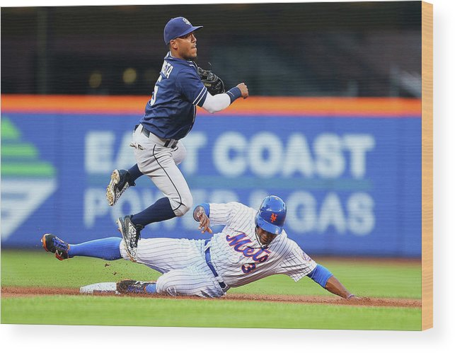 Double Play Wood Print featuring the photograph Alexi Amarista and Curtis Granderson by Mike Stobe