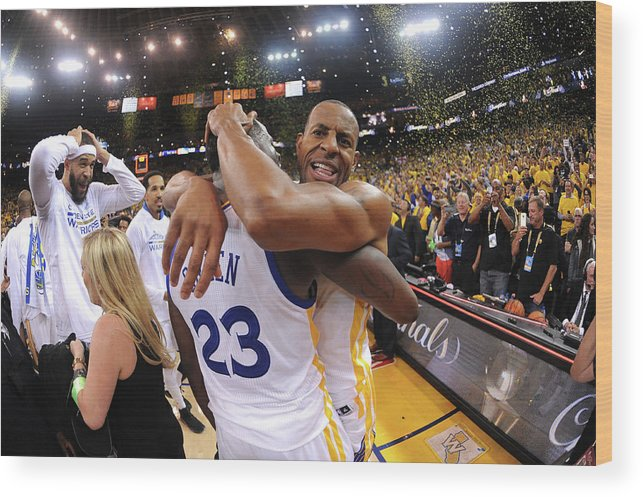 Playoffs Wood Print featuring the photograph Andre Iguodala and Draymond Green by Noah Graham