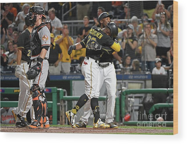 Second Inning Wood Print featuring the photograph Andrew Mccutchen and Starling Marte by Justin Berl