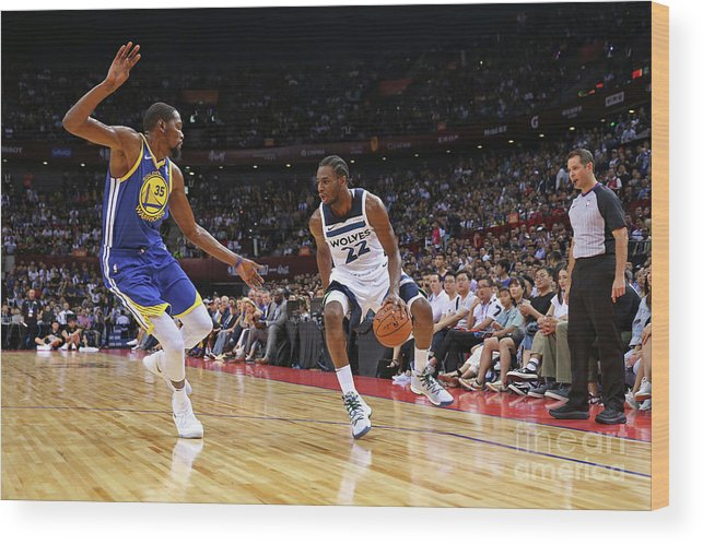 Event Wood Print featuring the photograph Andrew Wiggins and Kevin Durant by David Sherman