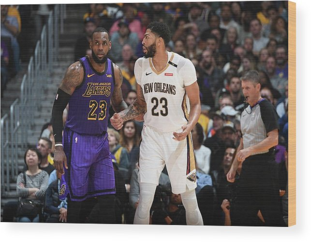 Nba Pro Basketball Wood Print featuring the photograph Anthony Davis and Lebron James by Andrew D. Bernstein