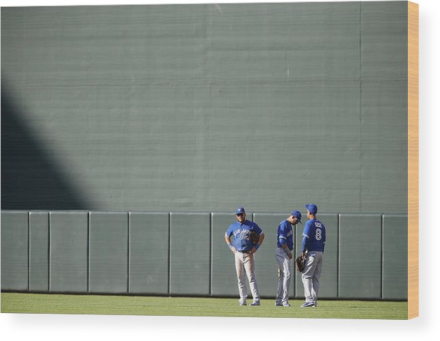 American League Baseball Wood Print featuring the photograph Anthony Gose and Melky Cabrera by Jonathan Ernst