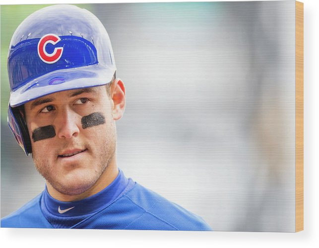 American League Baseball Wood Print featuring the photograph Anthony Rizzo and Gregory Polanco by Taylor Baucom