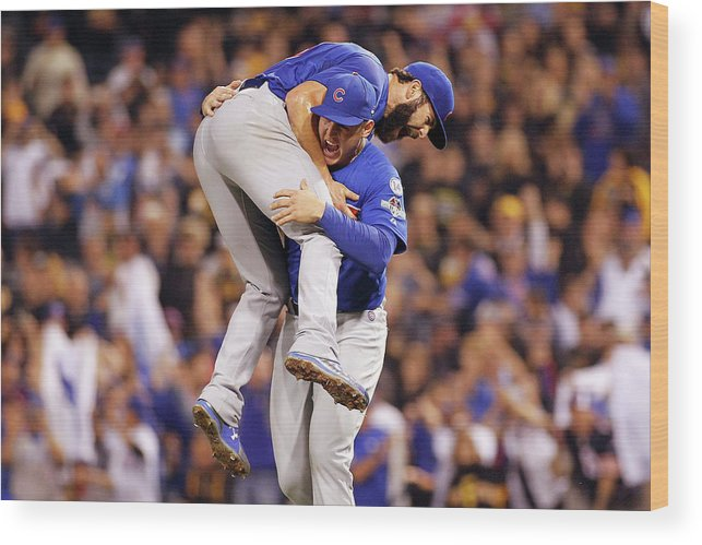 Playoffs Wood Print featuring the photograph Anthony Rizzo and Jake Arrieta by Justin K. Aller