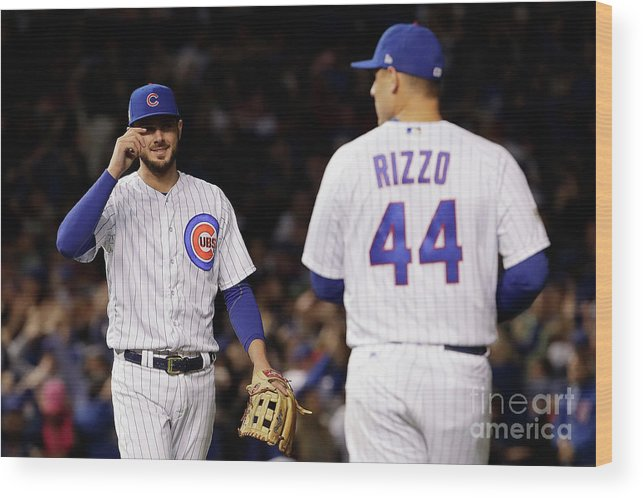 Three Quarter Length Wood Print featuring the photograph Anthony Rizzo and Kris Bryant by Jamie Squire