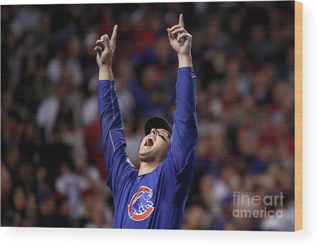 People Wood Print featuring the photograph Anthony Rizzo and Miguel Montero by Ezra Shaw