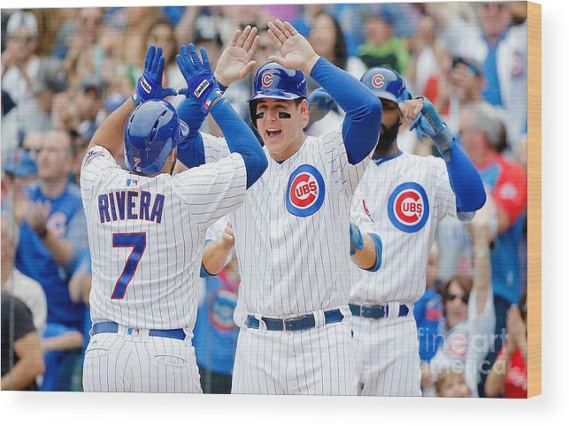 Second Inning Wood Print featuring the photograph Anthony Rizzo and Rene Rivera by Jon Durr