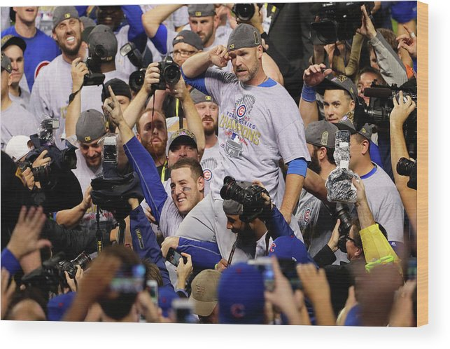American League Baseball Wood Print featuring the photograph Anthony Rizzo, David Ross, and Jason Heyward by Jamie Squire