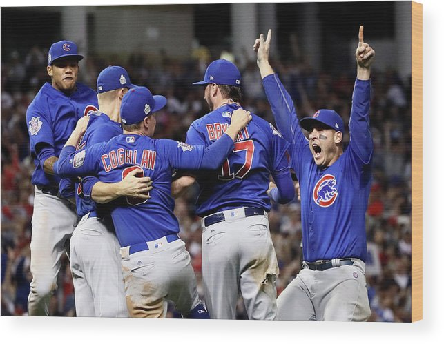 Three Quarter Length Wood Print featuring the photograph Anthony Rizzo, Kris Bryant, and Chris Coghlan by Ezra Shaw
