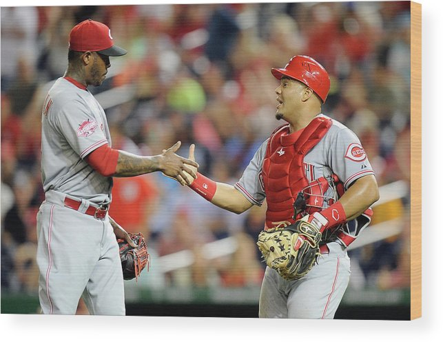 Three Quarter Length Wood Print featuring the photograph Aroldis Chapman and Brayan Pena by Greg Fiume