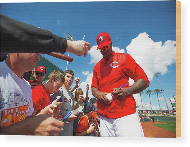American League Baseball Wood Print featuring the photograph Aroldis Chapman by Rob Tringali