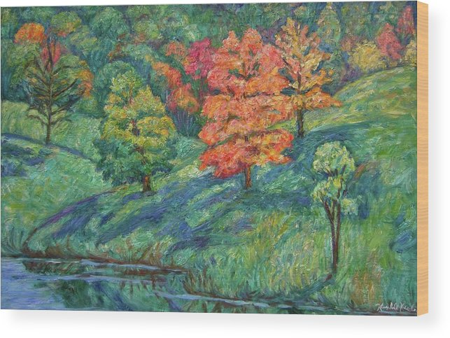 Landscape Wood Print featuring the painting Autumn Pond by Kendall Kessler