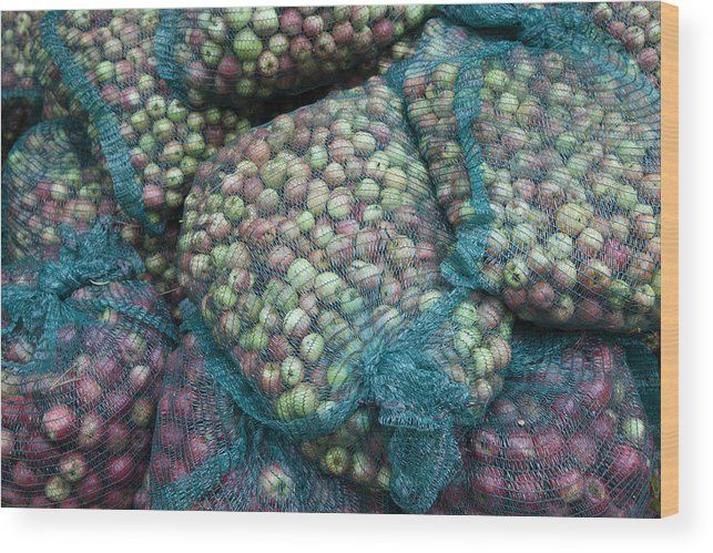 Outdoors Wood Print featuring the photograph Bags of organic apples by Joseph Clark