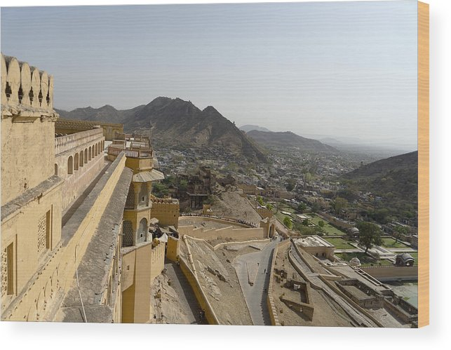 Royalty Wood Print featuring the photograph beautiful architecture Amber fort and mughal empire at jaipur rajasthan india by Skaman306