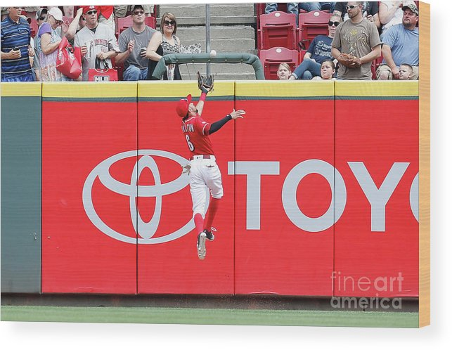 Great American Ball Park Wood Print featuring the photograph Ben Revere and Billy Hamilton by Kirk Irwin