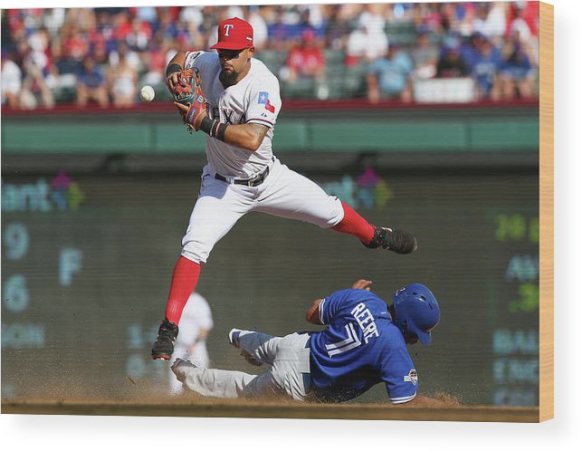 People Wood Print featuring the photograph Ben Revere and Rougned Odor by Ronald Martinez