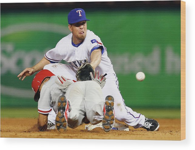 American League Baseball Wood Print featuring the photograph Ben Revere by Tom Pennington