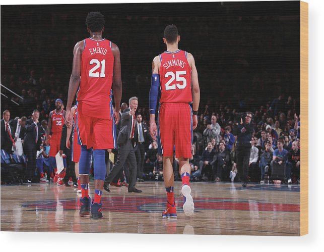 Nba Pro Basketball Wood Print featuring the photograph Ben Simmons and Joel Embiid by Nathaniel S. Butler