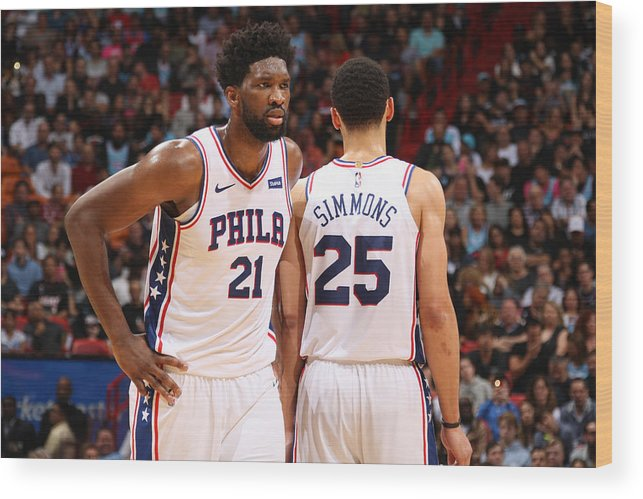 Nba Pro Basketball Wood Print featuring the photograph Ben Simmons and Joel Embiid by Oscar Baldizon
