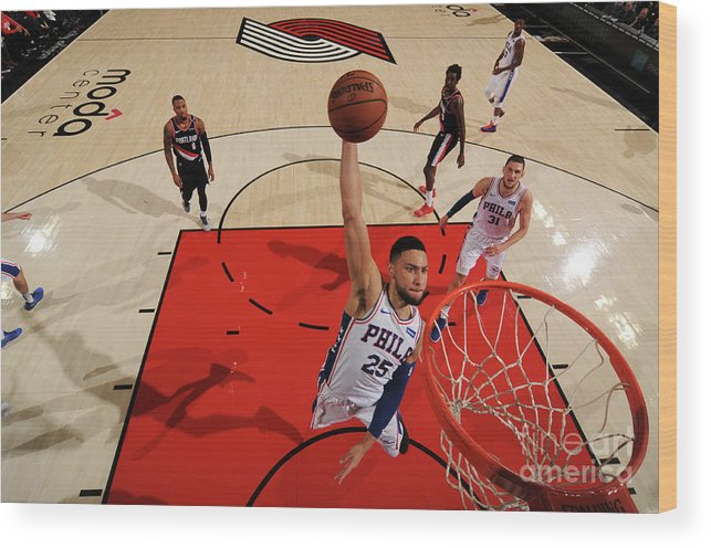 Nba Pro Basketball Wood Print featuring the photograph Ben Simmons by Cameron Browne