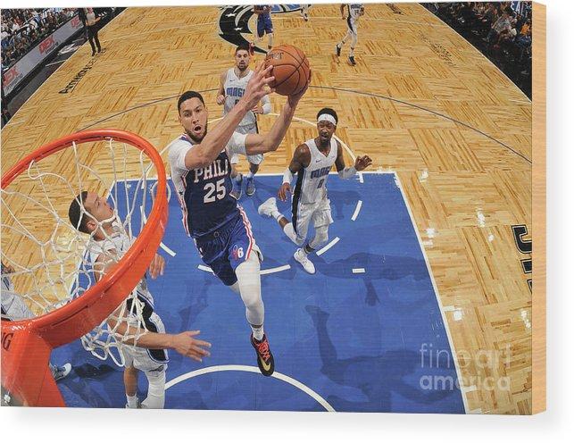 Nba Pro Basketball Wood Print featuring the photograph Ben Simmons by Fernando Medina