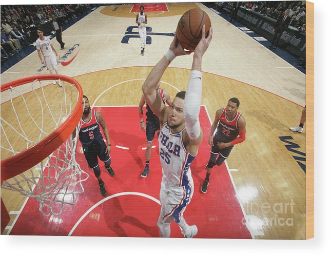 Nba Pro Basketball Wood Print featuring the photograph Ben Simmons by Ned Dishman