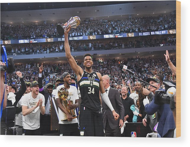 Playoffs Wood Print featuring the photograph Bill Russell and Giannis Antetokounmpo by Jesse D. Garrabrant