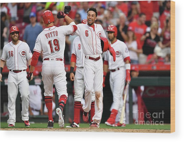 Great American Ball Park Wood Print featuring the photograph Billy Hamilton and Joey Votto by Jamie Sabau