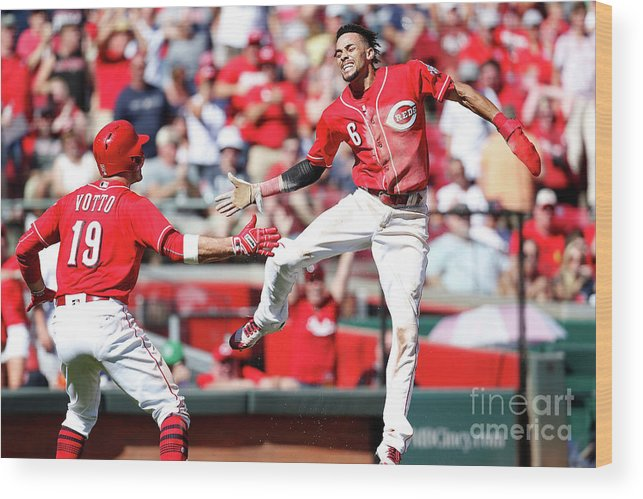 Great American Ball Park Wood Print featuring the photograph Billy Hamilton and Joey Votto by Kirk Irwin