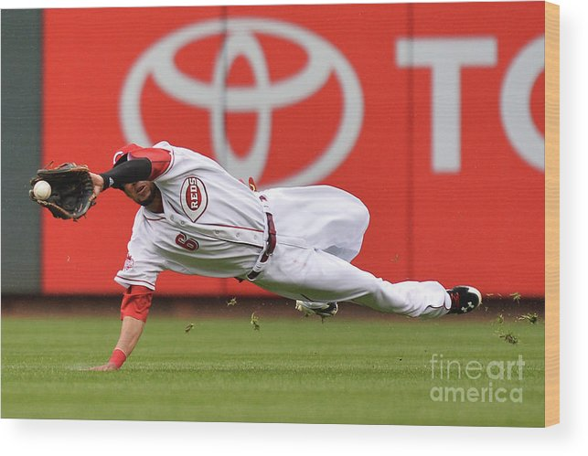 Great American Ball Park Wood Print featuring the photograph Billy Hamilton and Starling Marte by Jamie Sabau