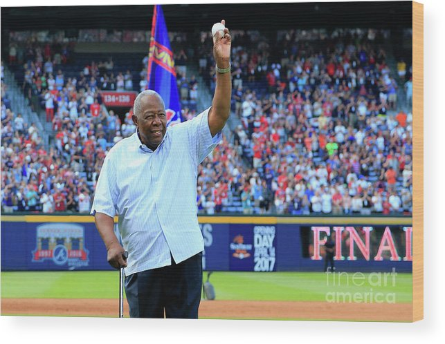 Atlanta Wood Print featuring the photograph Bobby Cox and Hank Aaron by Daniel Shirey