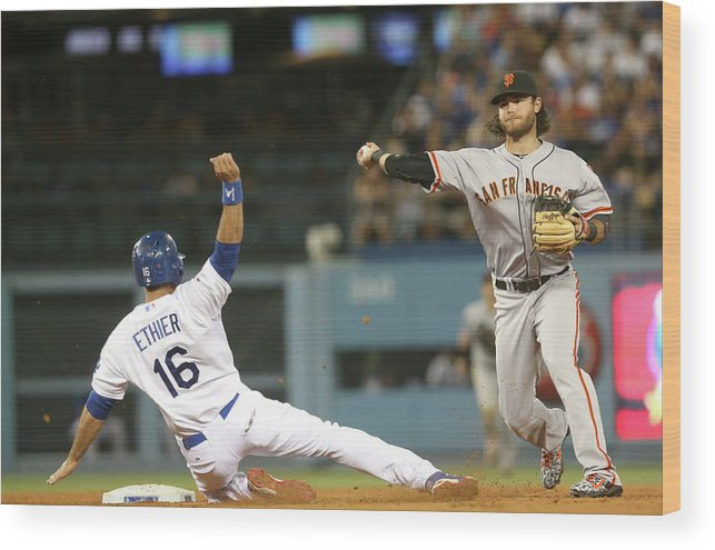 Double Play Wood Print featuring the photograph Brandon Crawford and Andre Ethier by Stephen Dunn