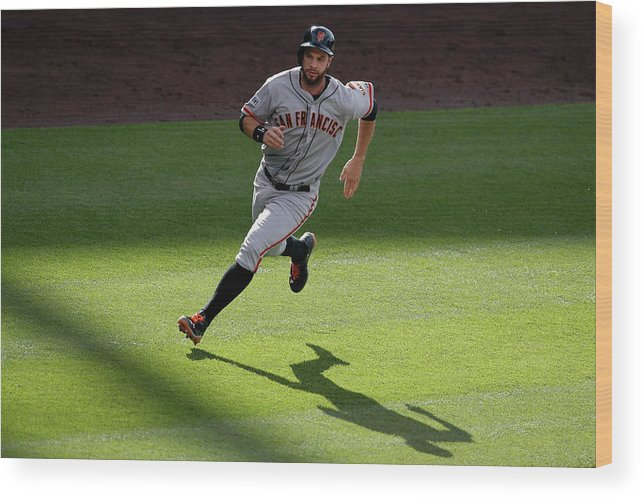 People Wood Print featuring the photograph Brandon Crawford and Brandon Belt by Doug Pensinger