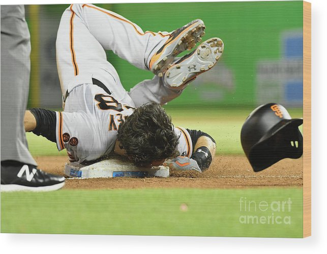 People Wood Print featuring the photograph Brandon Crawford and Buster Posey by Eric Espada