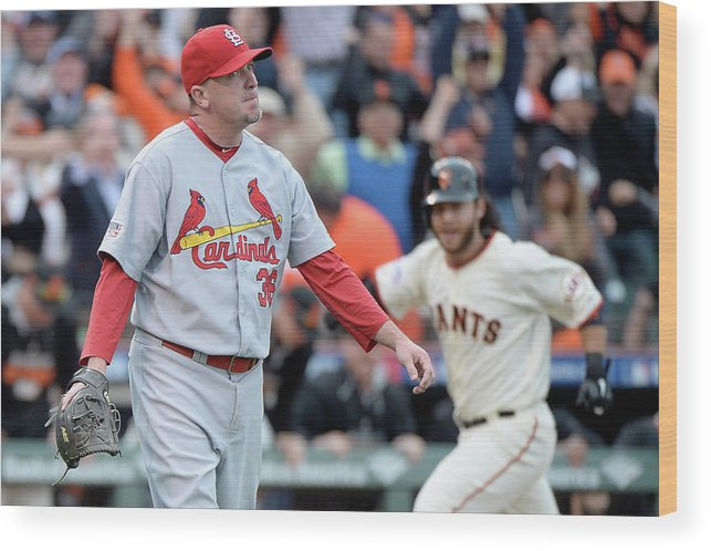 St. Louis Cardinals Wood Print featuring the photograph Brandon Crawford and Randy Choate by Harry How
